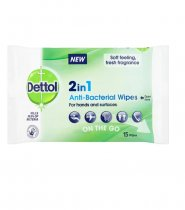 Dettol: 2in1 Anti-Bacterial Wipes 15's (9pc Case)